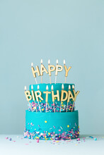 Turquoise Birthday Cake With G...