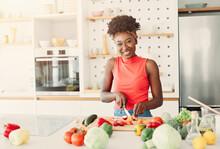 Black Woman African American  Kitchen Food Girl Cooking Preparing Breakfast  Luch Dinner Happy