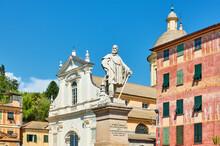 Old Square With Monument To Giuseppe Garibaldi In Chiavari
