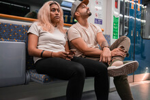 Unhappy Couple On Subway