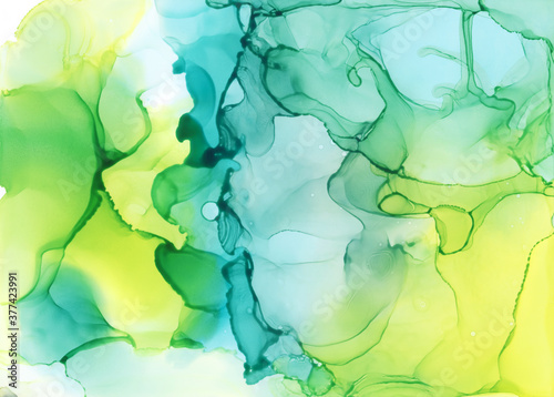 Blue Green Abstract Alcohol Ink Painting