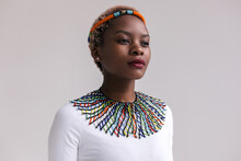 Portrait Of Beautiful African Woman Wearing National Attires