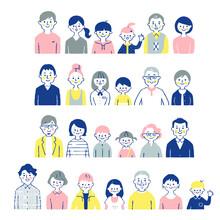 4組の3世代家族 バストアップ セット