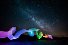 Lightpainting With Milky Way