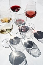 Wine Glasses With Different Types Of Wine