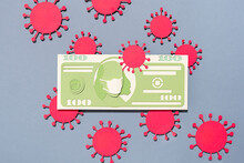100 Dollar Banknote With Virus