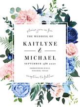 Classic Blue Rose, Blush Pink Hydrangea, Ranunculus, Dahlia, Thistle Flowers
