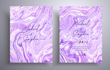 Collection Of Acrylic Wedding Invitations With Stone Texture. Mineral Vector Cards With Marble Effect And Swirling Paints, Lavender, Purple And White Colors. Designed For Posters, Packaging And Etc