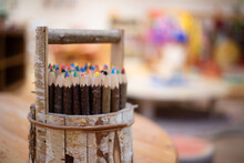 Wooden Pencil Holder With Coloured Pencils