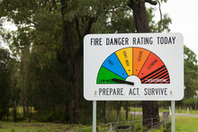 Fire Danger Rating Sign Beside Road