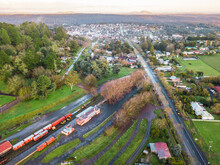 Aerial View Over A Railway Sta...