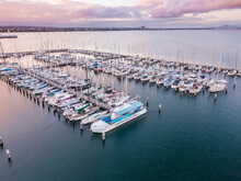 Aerial View Of Boats And Yachts Moored At A Marina