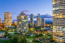 Hi Rise Apartment Buildings At Twilight On The Gold Coast