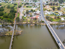 Aerial View Over The Loddon River And Town Of Bridgewater