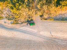 Looking Down On A Tractor Raki...