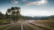 A Paved Road Leading Towards The Flinders Ranges