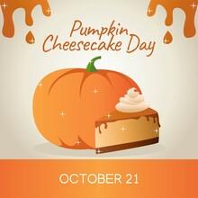 National Pumpkin Cheesecake  Day Vector Illustration