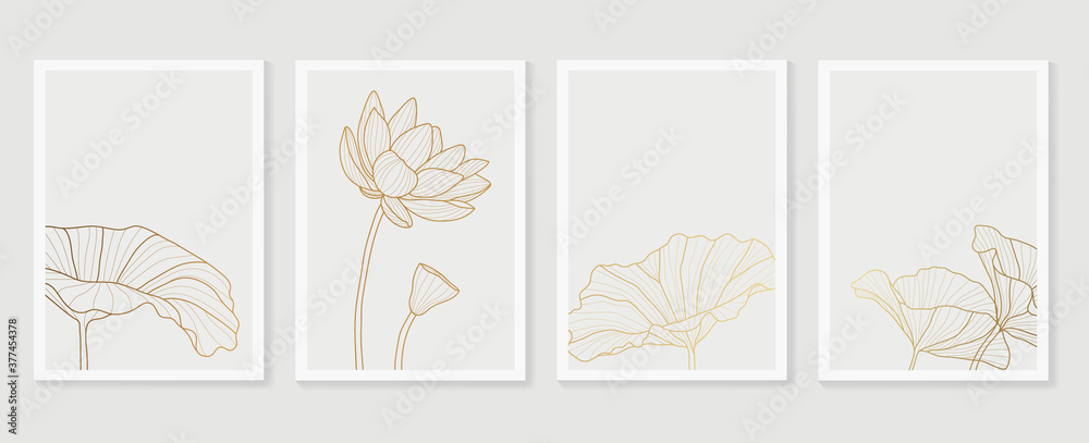 Fototapeta Luxury cover design template. Lotus line arts hand draw gold lotus flower and leaves. Design for packaging design, social media post, cover, banner, Wall arts, Gold geometric pattern design vector
