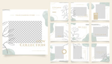 Social Media Template Banner Fashion Sale Promotion. Fully Editable Instagram And Facebook Square Post Frame Puzzle Organic Sale Poster. Green Floral Water Color Vector Background