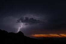 Sunset Lightning Over Elephant...