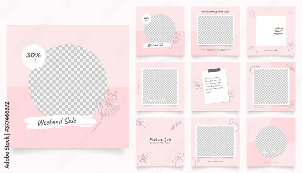 Fototapeta social media template banner fashion sale promotion. fully editable instagram and facebook square post frame puzzle organic sale poster. pink red floral vector background
