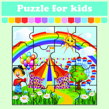 Puzzle Game For Kids. Illustration Of A Clown In A Garden With A Circus And A Ferris Wheel From Behind On A Rainbow Background. Education Worksheet. Color Activity Page. Riddle For Preschool. Isolated
