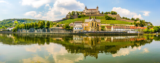Panoramic view at the Bank of Main river with Marienberg Castle and At.Bukard church in Wurzburg ,Germany