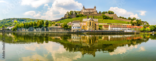 Fototapeta Panoramic view at the Bank of Main river with Marienberg Castle and At.Bukard church in Wurzburg ,Germany obraz