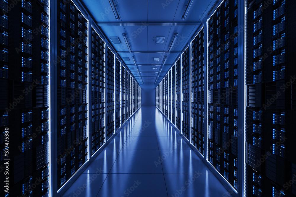 Fototapeta Server room with server tower