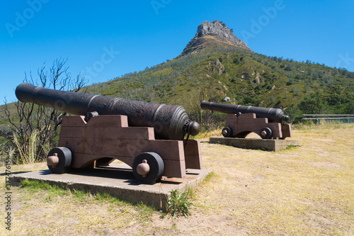 old historical pair of cannons on hill with Lions Head in the background, Cape T Wallpaper Mural