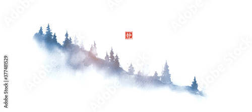 Blue mountain slope with pine trees in fog Fototapet