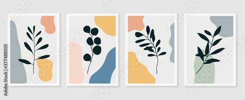Fototapeta Botanical wall art vector set. Foliage line art drawing with abstract shape.  Abstract Plant Art design for print, cover, wallpaper, Minimal and  natural wall art. Vector illustration. obraz