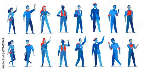 Fotografiet Collezione di personaggi maschili e femminili per l'animazione