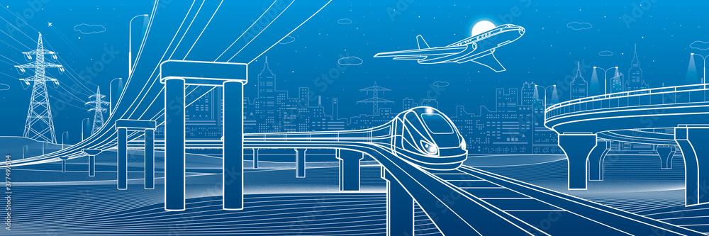 Fototapeta Outline road bridge. Car overpass. Train rides. Airplane fly. City Infrastructure and transport illustration. Urban scene. Vector design art. White lines on blue background