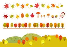 秋の紅葉アイコンと山...