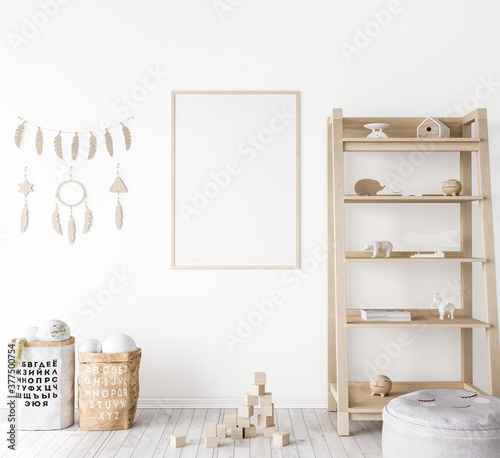 Frame mock up in farmhouse baby room, natural wooden furniture in nursery design Tapéta, Fotótapéta
