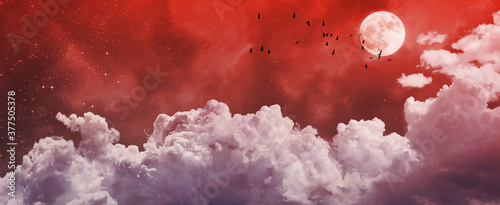Canvastavla halloween night sky background with stars, moon and red clouds