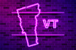Vermont US state glowing purple neon lamp sign