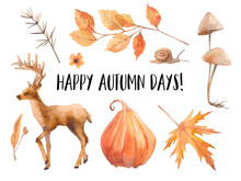Happy Autumn Clip Art. Waterco...