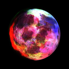 Fantasy Colorful Marble Planet, 3D Illustration Of Abstract Moon In Pink Violet Red On Dark Background