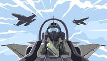 Pilot's In The Fighter. Aircraft-fighter Cockpit Overview. Aerobatic Team In The Air. A Military Fighter In The Clouds. Figures Of Higher Pilatage. The Pilot Of A Military Plane. Illustration, EPS 10