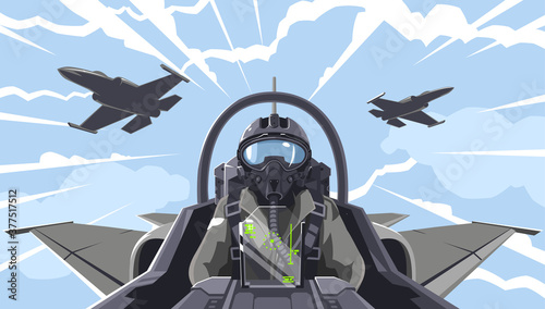 Pilot's in the fighter Wallpaper Mural