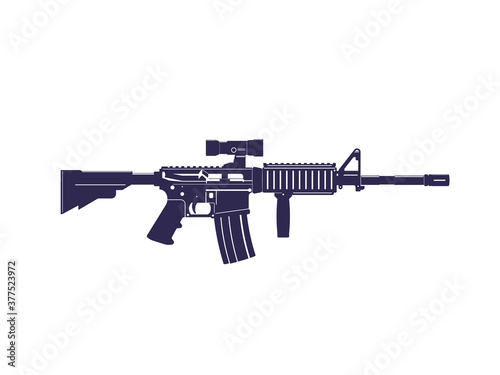 Fotografering assault rifle, automatic gun with optical scope, vector