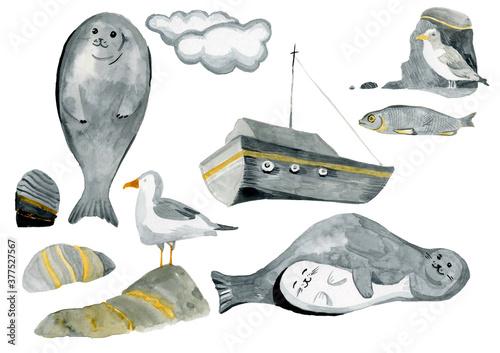 north sea watercolor art isolated elements seal ship gulls fish rocks Canvas Print