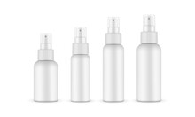 Set Of Spray Bottles Mockups With Transparent Cap, Isolated On White Background. Vector Illustration