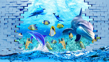 3d Illustration Wallpaper Under Sea Dolphin, Fish, Tortoise, Coral Reef Sand Water With Broken Wall Bricks Background. Will Visually Expand The Space In A Small Room .