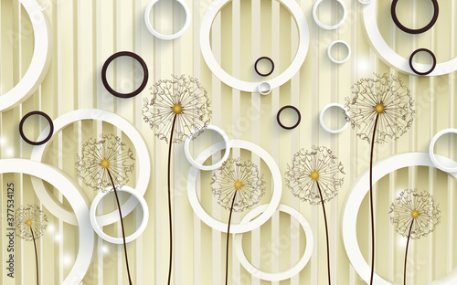Obrazy do jadalni  3d-mural-illustration-background-with-golden-dandelion-flowers-circles-simple-golden-decorative
