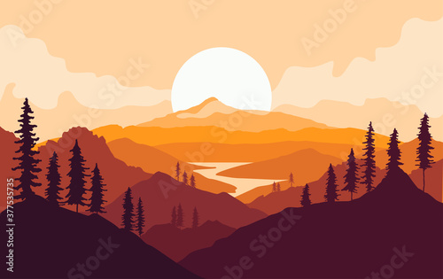 Obraz Autumn mountains landscape with tree silhouettes and river at sunset. Vector illustration - fototapety do salonu
