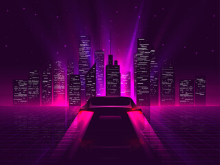 Back side sport car silhouette with neon glowing red rear lights riding on high speed at night with cityscape on background. Outrun or vaporwave retro futuristic aesthetic vector illustration.