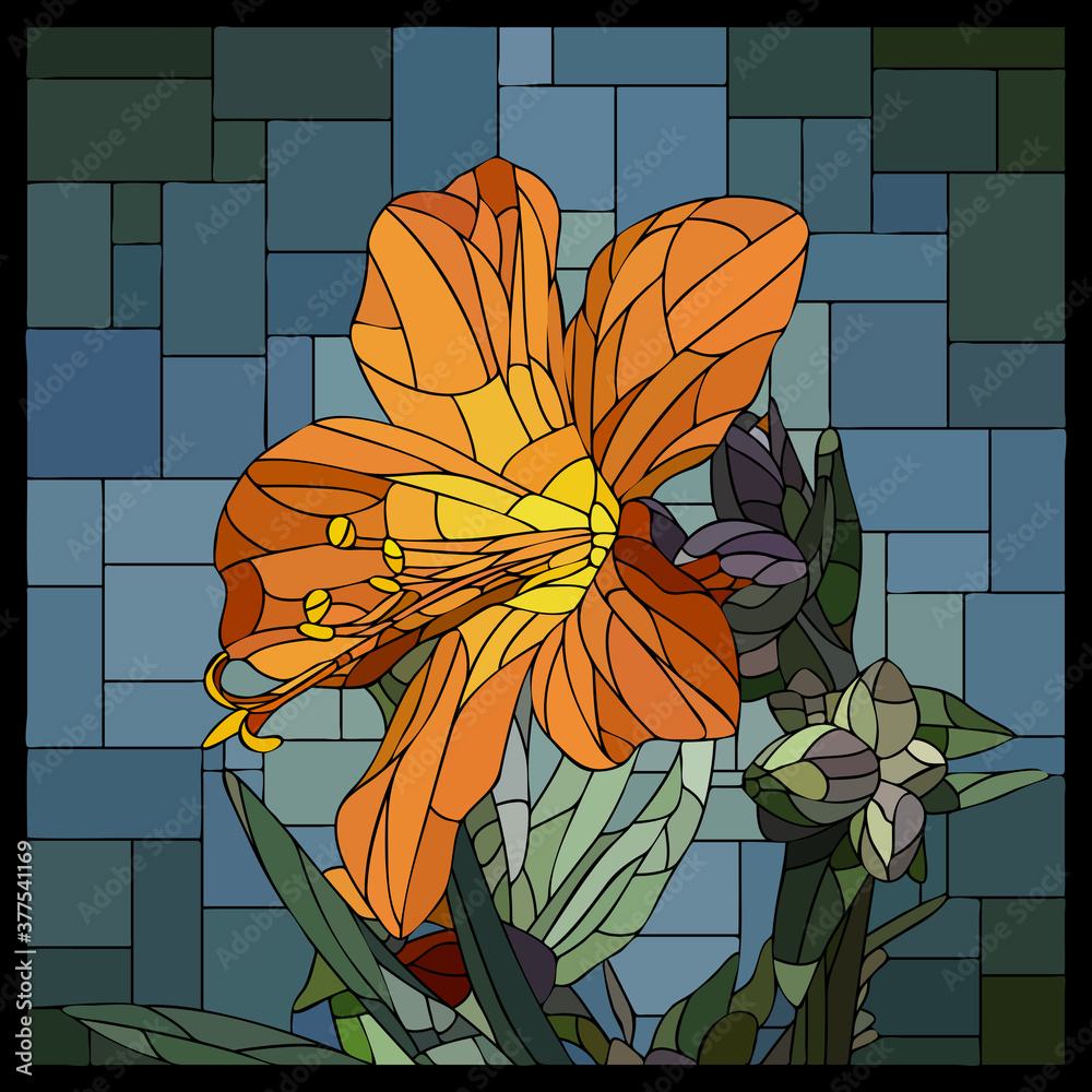 Fototapeta Vector square mosaic with blooming orange cyanosis flower in stained glass window.